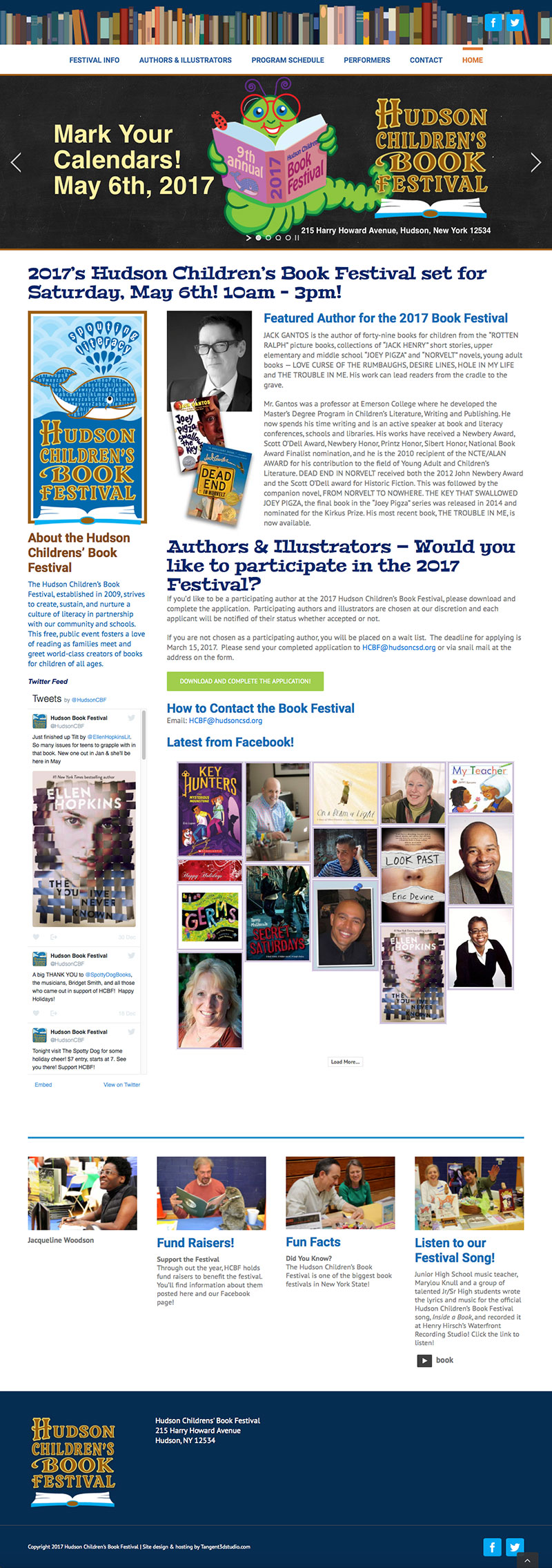 Tangent web services designed, programmed and provides wordpress support for the Hudson Childrens Book Festival